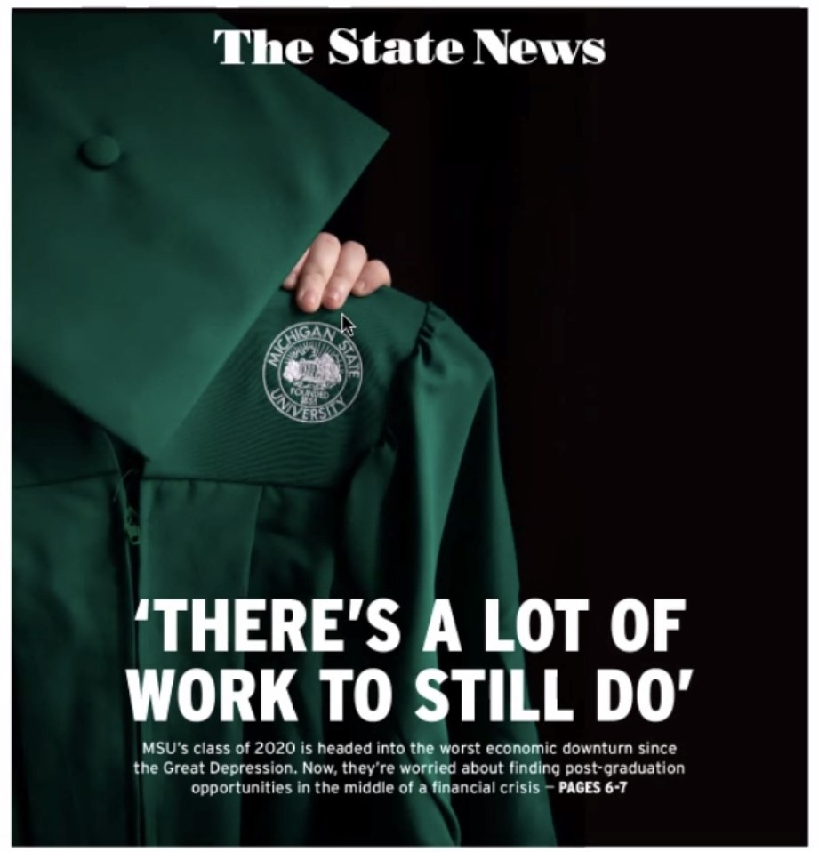 The State News cover with green cap and gown